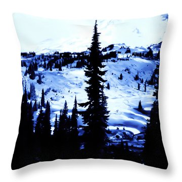 Vintage Mount Rainier With Camp Grounds In The Distance Early 1900 Era... Throw Pillow by Eddie Eastwood