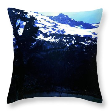 Vintage Mount Rainier With Reflexion Lake Early 1900 Era... Throw Pillow by Eddie Eastwood