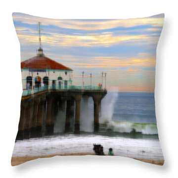 Vintage Pier Throw Pillow by Joe Schofield