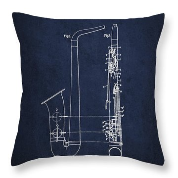 Saxophone Patent Drawing From 1899 - Blue Throw Pillow by Aged Pixel