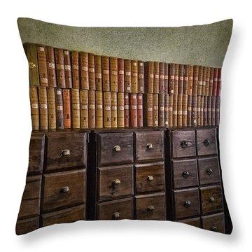 Vintage Storage Throw Pillow by Susan Candelario