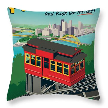 Vintage Style Pittsburgh Incline Travel Poster Throw Pillow by Jim Zahniser