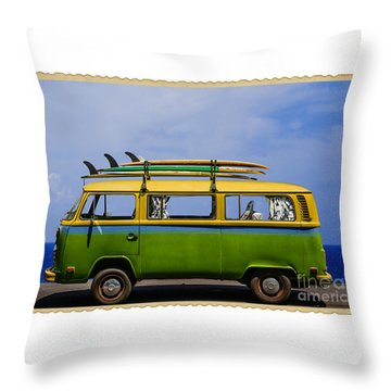 Vintage Surf Van Throw Pillow by Diane Diederich