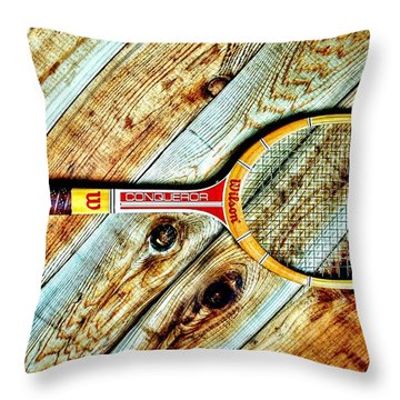 Vintage Tennis Throw Pillow by Benjamin Yeager