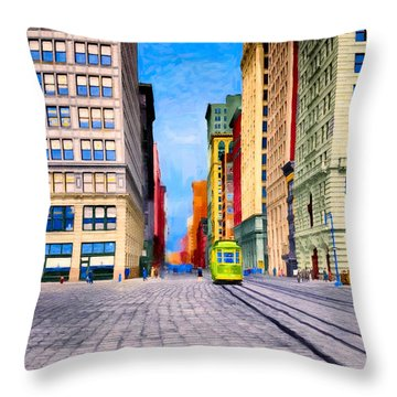 Vintage View Of New York City - Union Square Throw Pillow by Mark E Tisdale