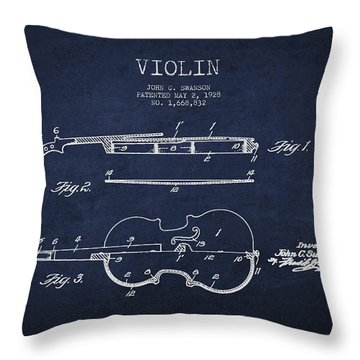 Vintage Violin Patent Drawing From 1928 Throw Pillow by Aged Pixel