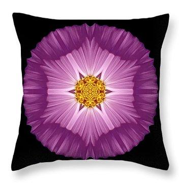 Violet Cosmos II Flower Mandala Throw Pillow by David J Bookbinder