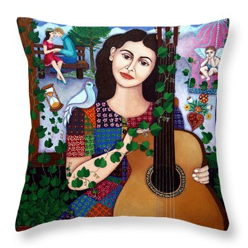Violeta Parra Back At Seventeen   Throw Pillow by Madalena Lobao-Tello