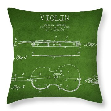 Violin Patent Drawing From 1928 Throw Pillow by Aged Pixel