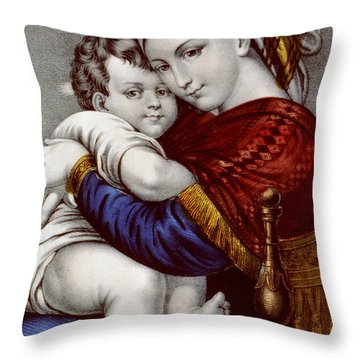 Virgin And Child Circa 1856  Throw Pillow by Aged Pixel