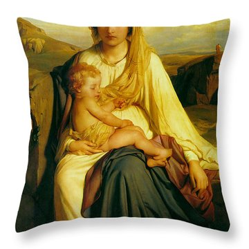 Virgin And Child Throw Pillow by Paul  Delaroche