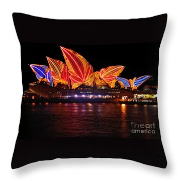 Vivid Sydney By Kaye Menner - Opera House ... Leaves Throw Pillow by Kaye Menner