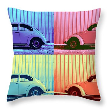 Vw Beetle Pop Art Quad Throw Pillow by Laura Fasulo