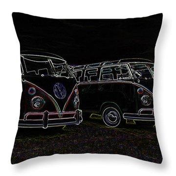 Vw Microbus Glow Throw Pillow by Steve McKinzie