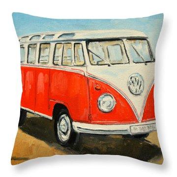 Vw Transporter T1 Throw Pillow by Luke Karcz