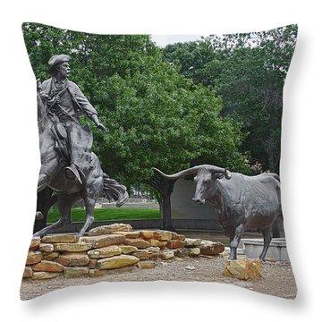 Waco - Branding The Brazos Throw Pillow by Christine Till
