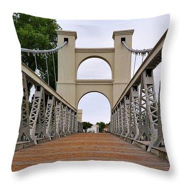 Waco Suspension Bridge Throw Pillow by Christine Till