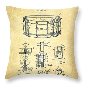 Waechtler Snare Drum Patent Drawing From 1910 - Vintage Throw Pillow by Aged Pixel