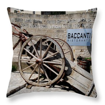 Wagon And Bottle Throw Pillow by Caroline Stella