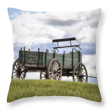 Wagon On A Hill Throw Pillow by Eric Gendron