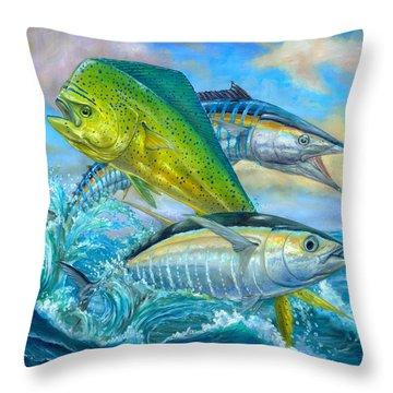 Wahoo Mahi Mahi And Tuna Throw Pillow by Terry  Fox