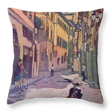 Waiting Bike Throw Pillow by Jenny Armitage