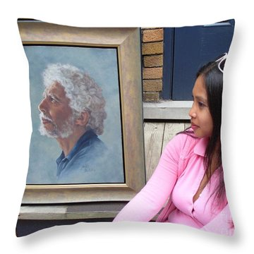 Waiting For A Portrait Session Throw Pillow by Lingfai Leung