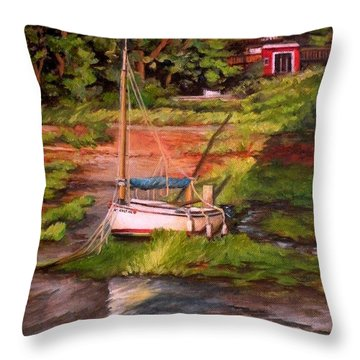 Waiting For The Tide Throw Pillow by Eileen Patten Oliver