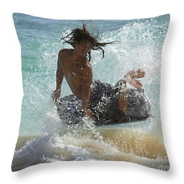 Wake Boarder Hawaii Throw Pillow by Bob Christopher