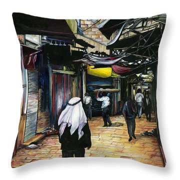 Walk Home Through Antiquity Old Jerusalem Throw Pillow by Gaye Elise Beda