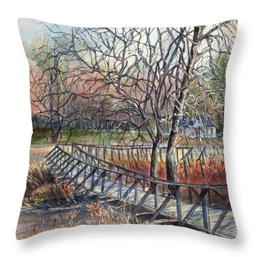 Walking Bridge Throw Pillow by Janet Felts