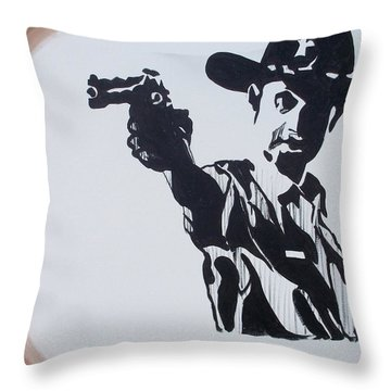 Walking Dead Rick Shoots Throw Pillow by Marisela Mungia