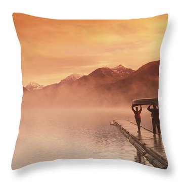 Walking On Dock Robe Lake  Sunrise Sc Throw Pillow by Michael DeYoung