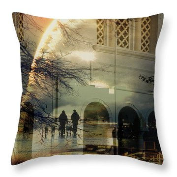 Walking The Dogs Throw Pillow by Sarah Vernon