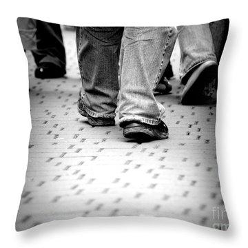 Walking Through The Street Throw Pillow by Michal Bednarek