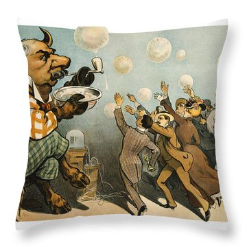 Wall Street Bubbles Always The Same Throw Pillow by Aged Pixel