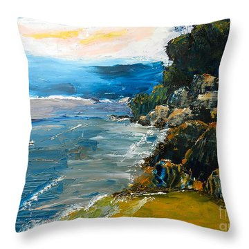 Walomwolla Beach Throw Pillow by Pamela  Meredith