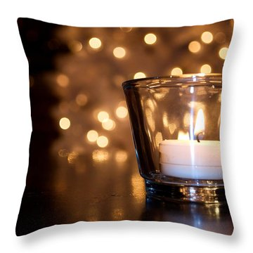 Warm Christmas Glow Throw Pillow by Lisa Knechtel