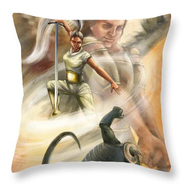 Warrior Throw Pillow by Tamer and Cindy Elsharouni