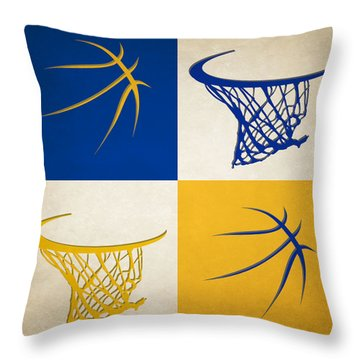 Warriors Ball And Hoop Throw Pillow by Joe Hamilton