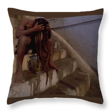 Throw Pillow featuring the photograph Varanasi Hair Wash by Travel Pics