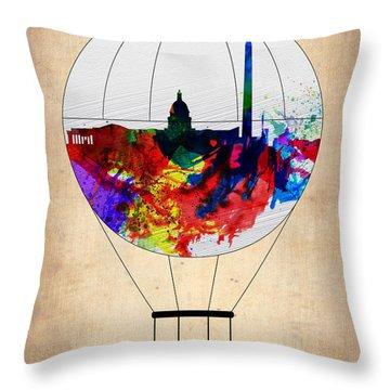 Washington D.c. Air Balloon Throw Pillow by Naxart Studio
