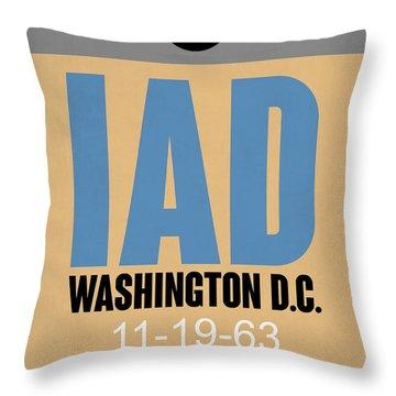 Washington D.c. Airport Poster 3 Throw Pillow by Naxart Studio