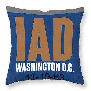 Washington D.c. Airport Poster 4 Throw Pillow by Naxart Studio