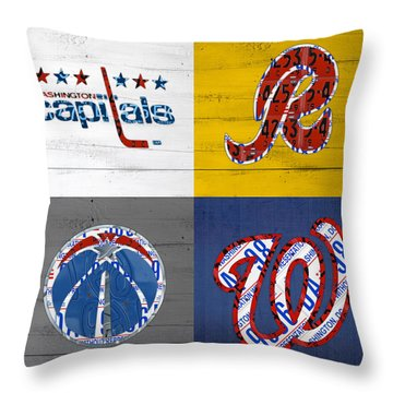 Washington Dc Sports Fan Recycled Vintage License Plate Art Capitals Redskins Wizards Nationals Throw Pillow by Design Turnpike