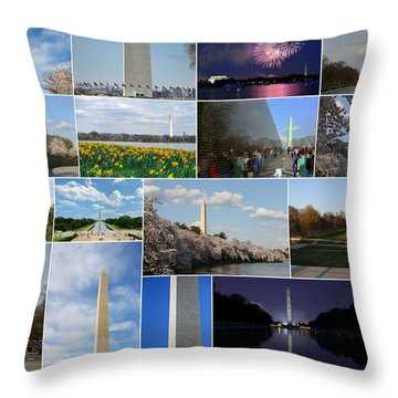 Washington Monument Collage 2 Throw Pillow by Allen Beatty