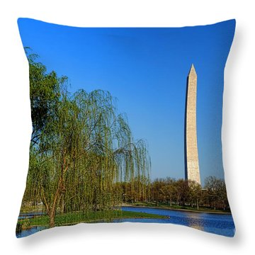 Washington Monument From Constitution Gardens Pond Throw Pillow by Olivier Le Queinec