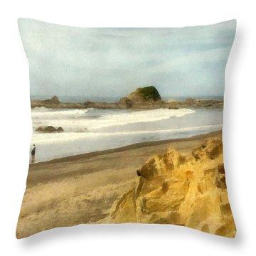 Washington State Seastacks Throw Pillow by Michelle Calkins