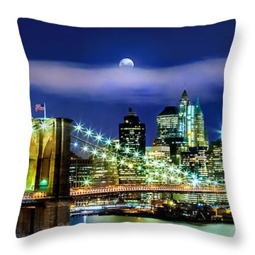 Watching Over New York Throw Pillow by Az Jackson