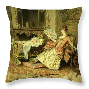 Watching The Baby  Throw Pillow by Edouard Toudouze